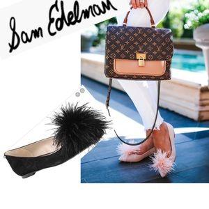 (Sam Edelman) sz 5 Reina black suede pompom flats
